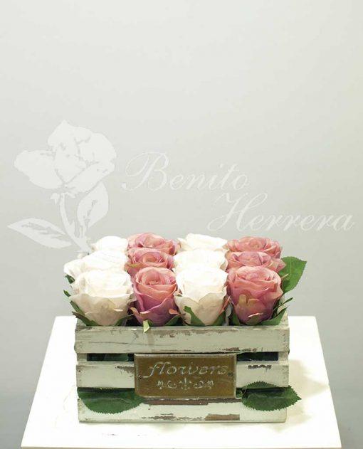 Caja de rosas de tela 3
